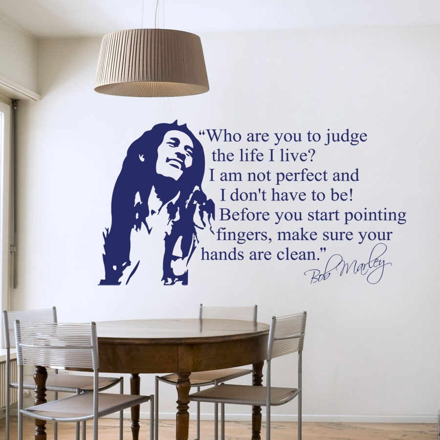 Hot Sell Wholesale Bob Marley Quotes Vinyl Wall Decals