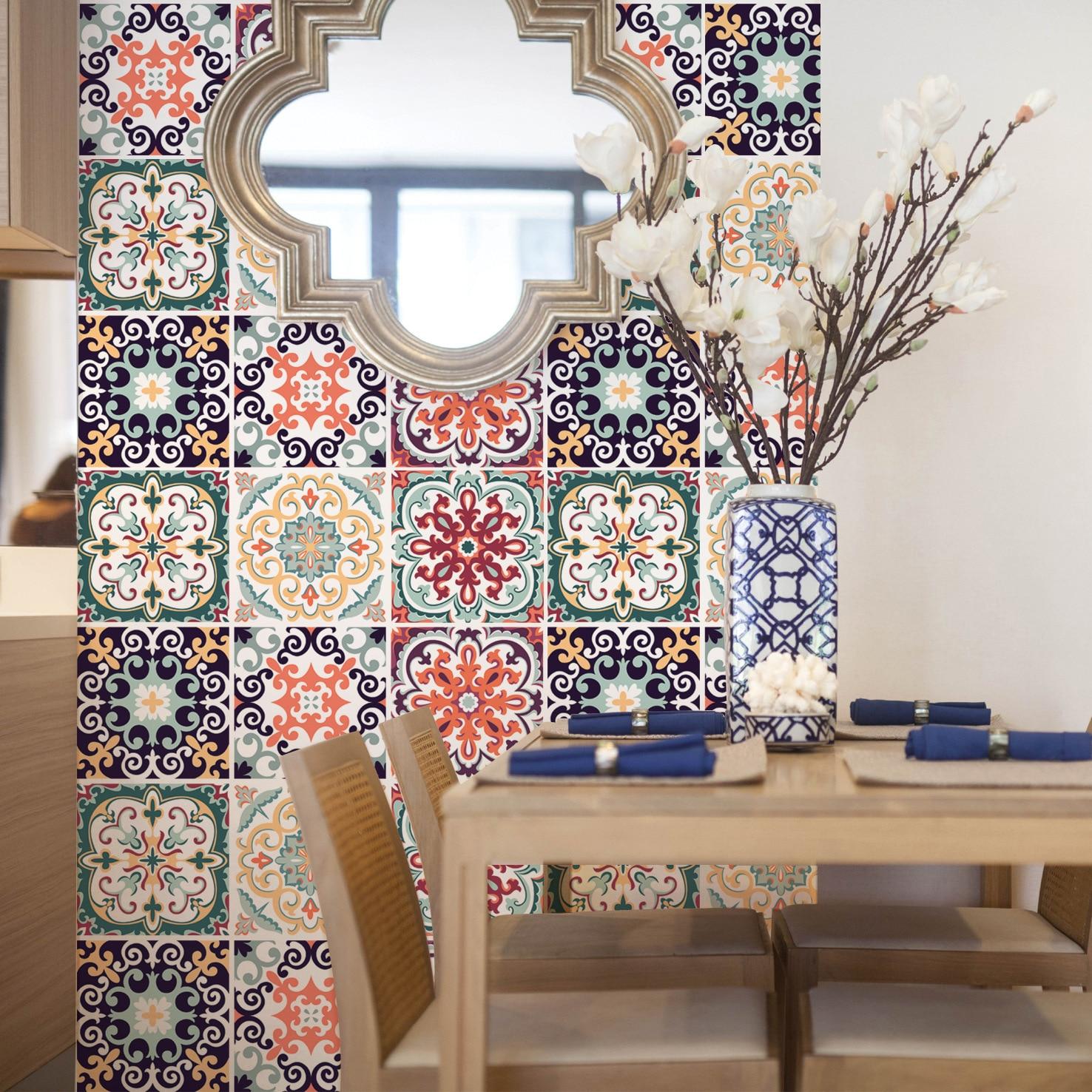Mediterranean Imitation Ceramic Tile Paste Bathroom Kitchen Antiskid Wall Paste DIY Creative Stitching FX707 Self Adhesive