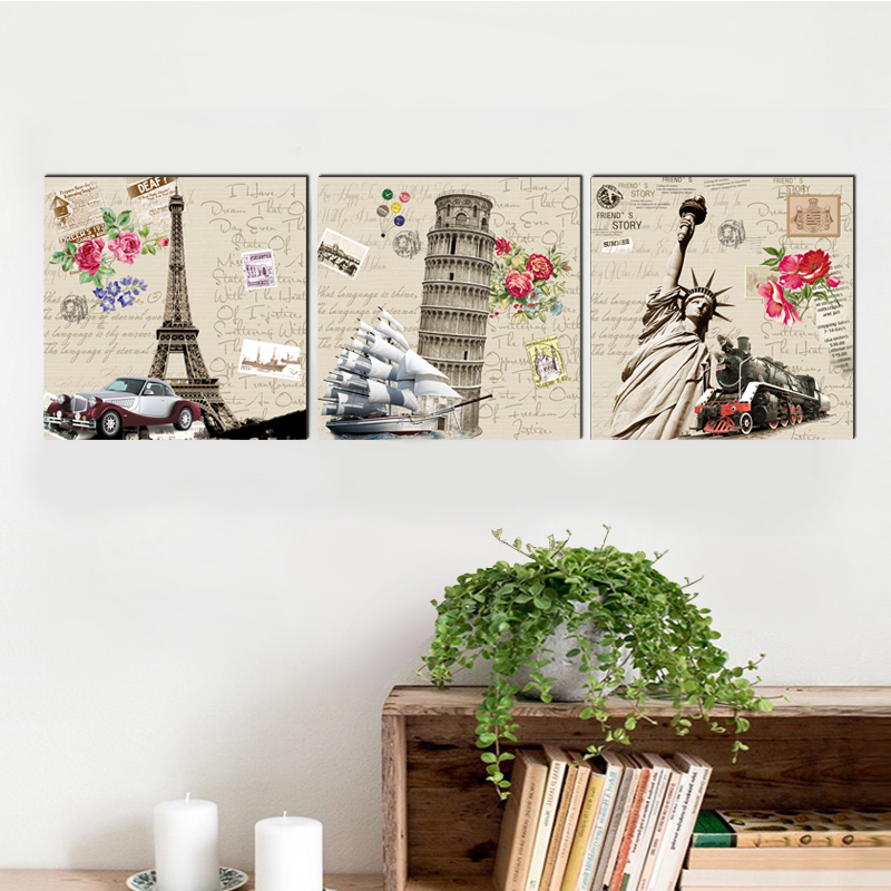 Country Landmark home deco square canvas painting modern classical art prints 3 psc vintage wall pictures for living room hotel