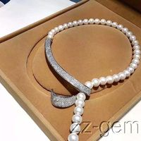 Hot sale new Style >> 10mm sea shell pearls necklace cz micro pave connector