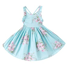 Summer Baby Girls Dress Beach  Dress Style Floral Print Party Backless Dresses For Girls Vintage Toddler Girl Clothing