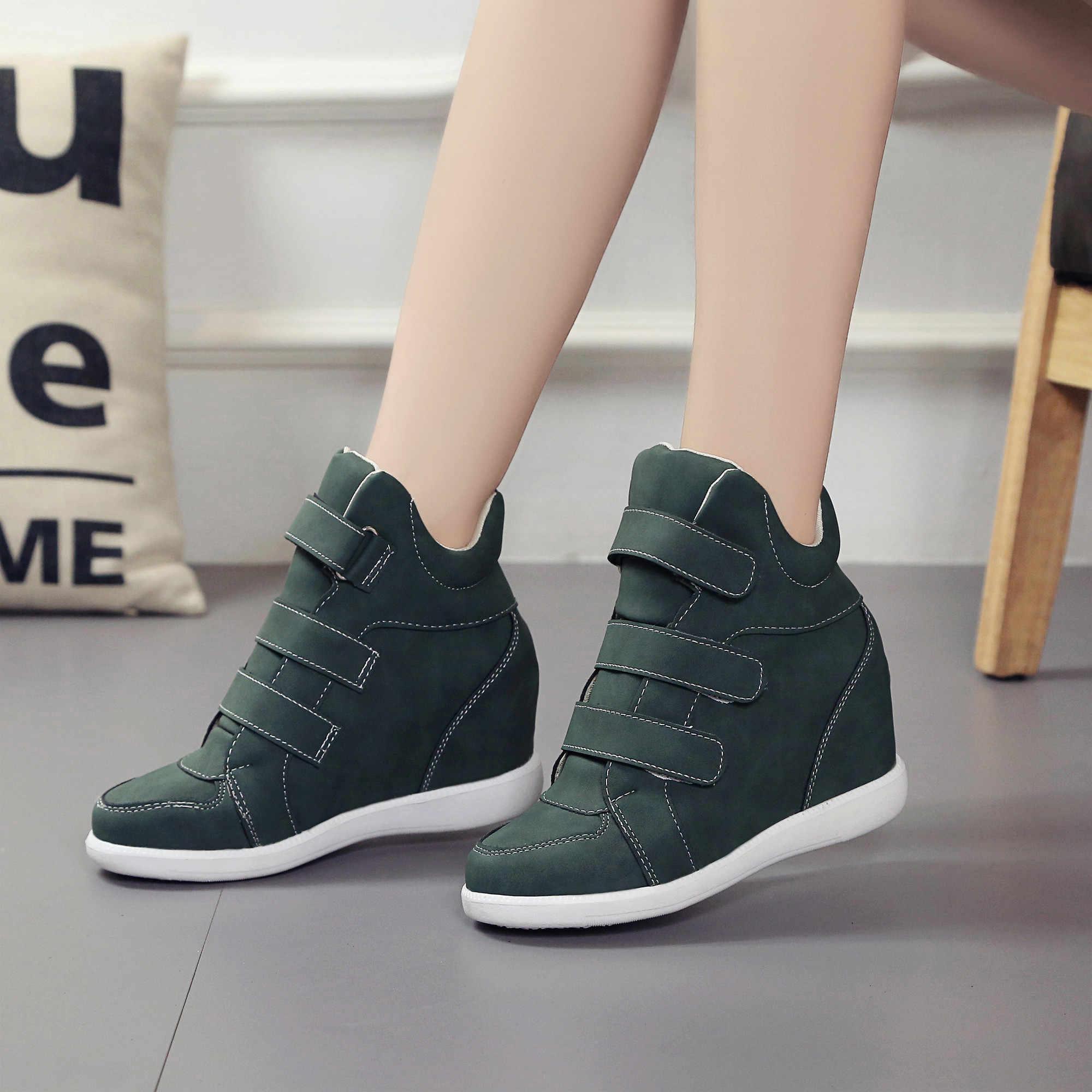 Lucyever moda platform ayakkabılar kadın yarım çizmeler gizli takozlar konfor Sneakers kadın akın rahat ayakkabılar Chaussure Femme