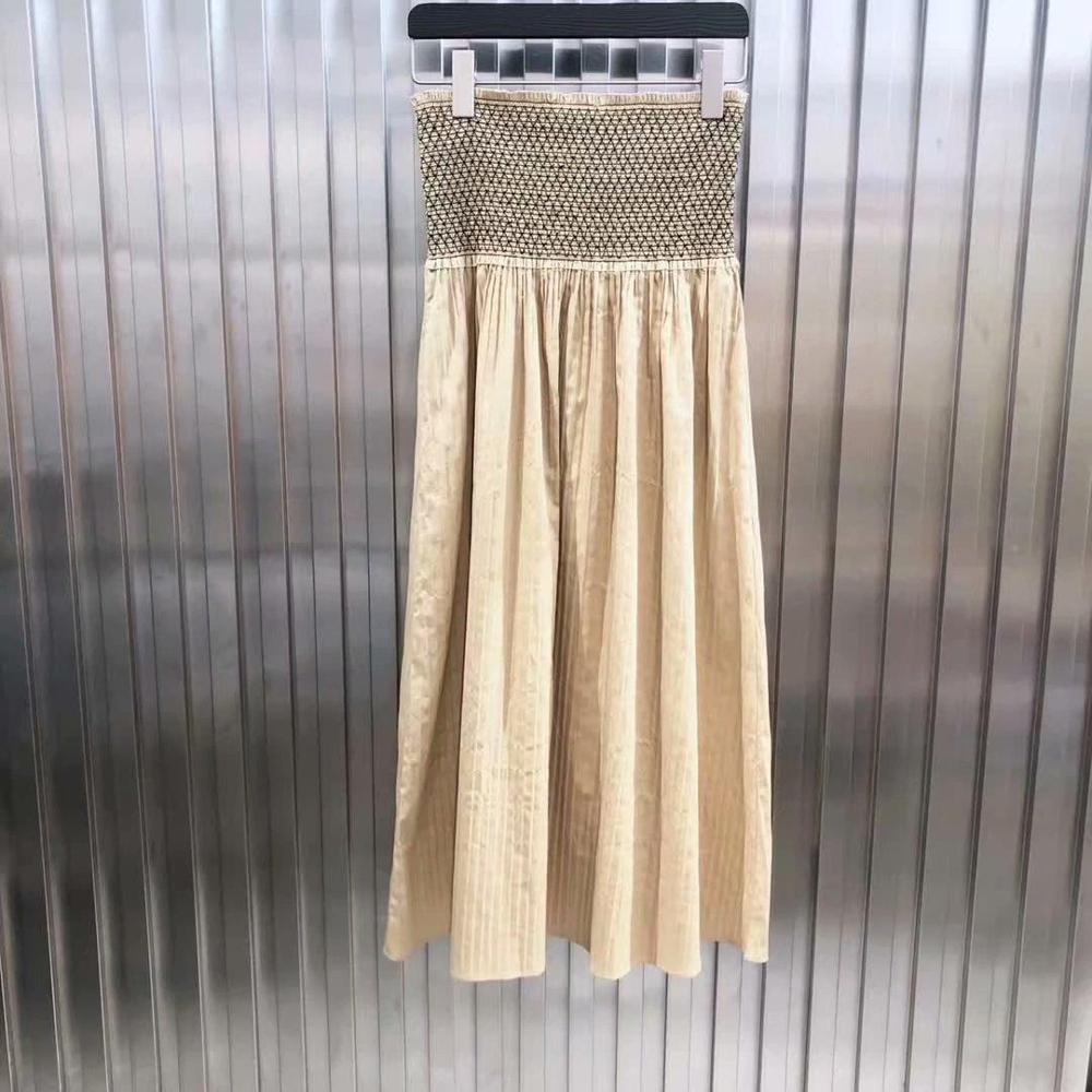2019 new ladies fashion sexy solid color waist pleated skirt 0619