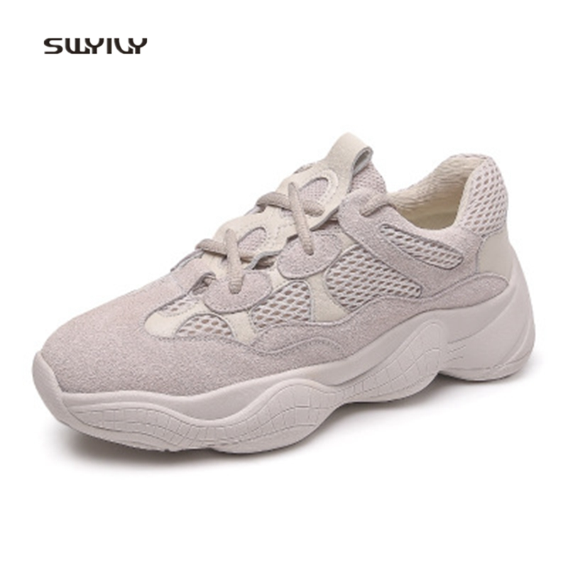 SWYIVY Women Jogging Shoes Mesh Breathable Ladies Sneakers 2018 New Lace-up Non-slip Running Shoes For Female Light Weight