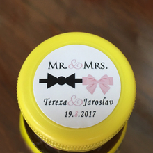 Wedding Personalize Sticker – Wedding Favors Customized MR & MRS labels,Tuxedo Bow and Pink Ribbon, Wedding Round Stickers