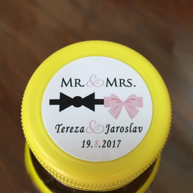 Wedding Personalize Sticker - Wedding Favors Customized MR & MRS labels,Tuxedo Bow and Pink Ribbon, Wedding Round Stickers