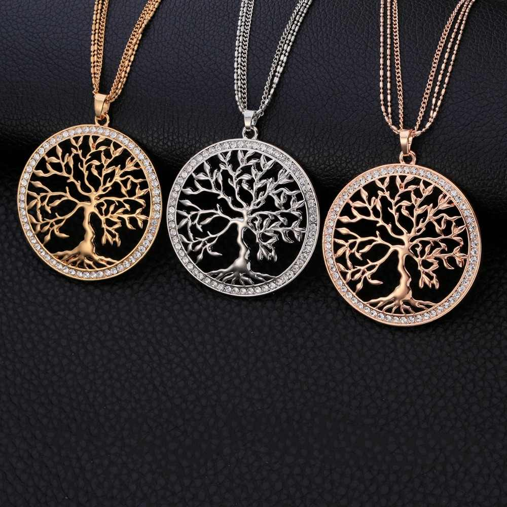 Crystal Tree Of Life Pendant Necklace For Women Gold Silver Multilayer Long Short Chain Choker Women Fashion Jewelry Gifts 2019