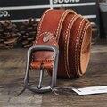 Genuíno Couro De Luxo Cinto Das Calças de Brim Dos Homens da Correia de Couro Da Cintura Do Vintage Alça de Cinto de Fivela de Cinto Masculino Ceinture Homme Cinturones MBT0369