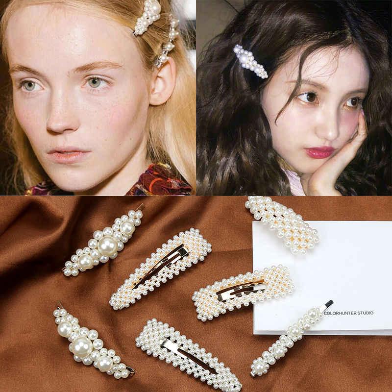 f00f11677 ... 2019 Fashion 2-8pcs/set Women Pearl Hair Clip Snap Hair Barrette Stick  Hairpin ...