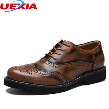 UEXIA Leather Lace Up Brown Formal Carving Brogue Flower Dress Shoes Men With Perforated Wingtip Detail  Oxfords Wedding Office
