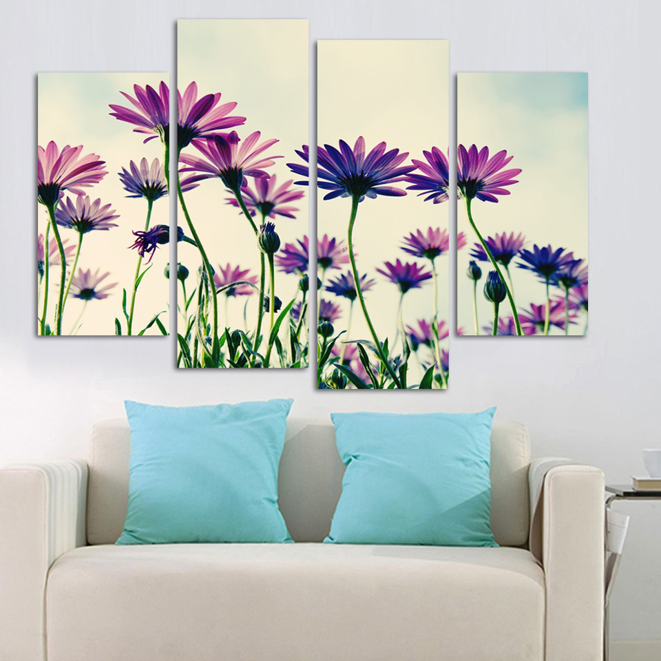 Free Shipping Home Decorators: Flower 4 Squares Art Canvas Painting Free Shipping Home