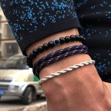 3 pcs/Set Mens Paracord Survival Bracelet Charm Obsidian Evi