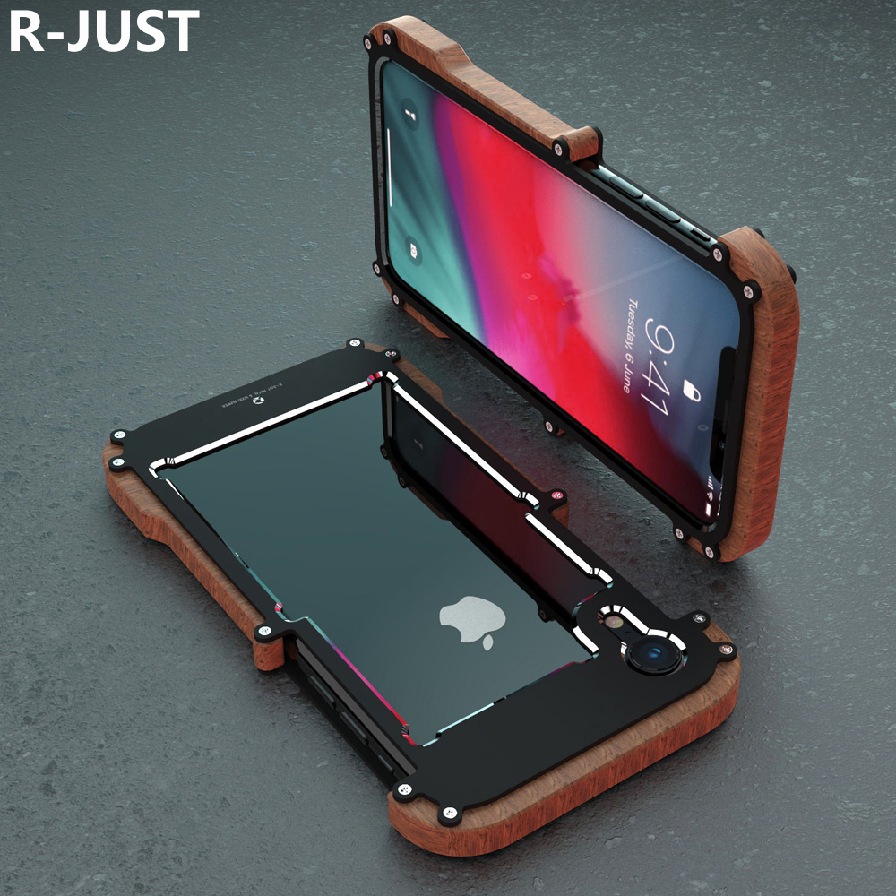 R-Just For iPhone XS Max Case Cover Luxury Hard Metal Aluminum Alloy Wood Protective Armor Phone Case for iPhone XR Back Cover iPhone XS