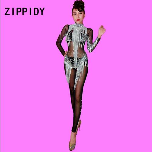 Silver Chains Rhinestones Black Mesh Jumpsuit See By Stretch Bodysuit Stage Dance Fringes Costume Birthday Leggings