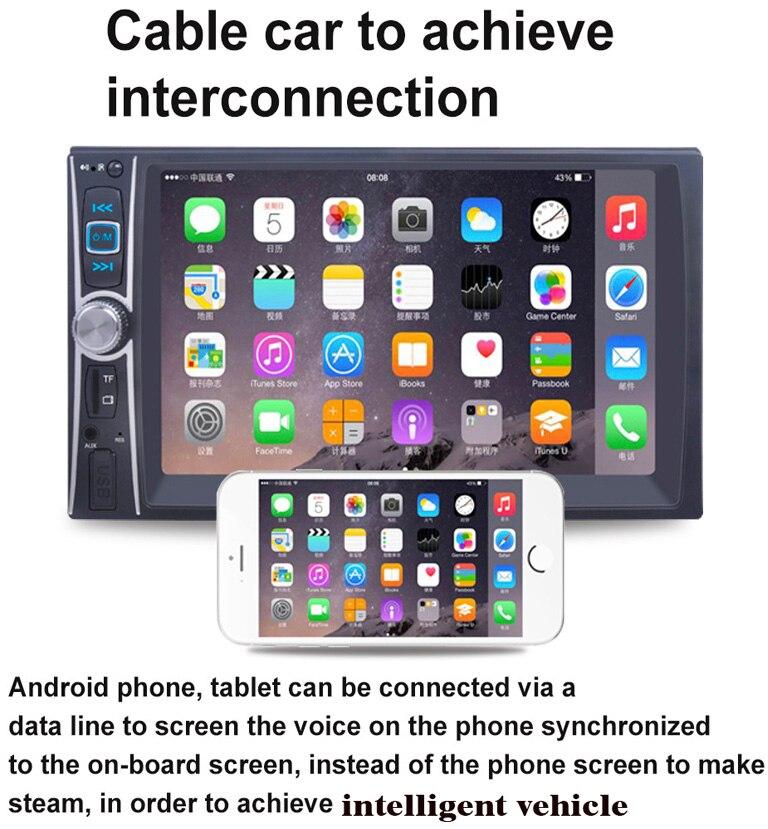 imágenes para Double 2din 6.6 Pulgadas autoradio 2 din Coche Reproductor de DVD con Bluetooth Estéreo de vídeo + volante para android pantalla mirroring