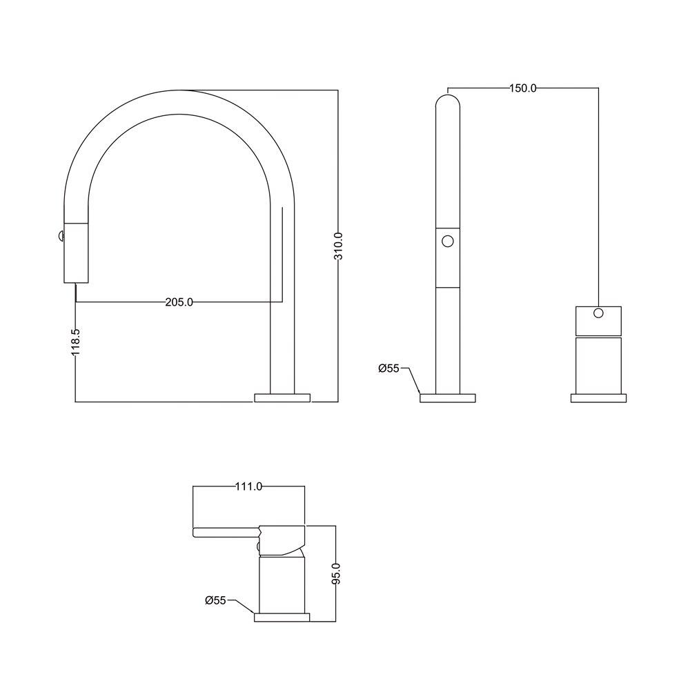 Купить дизайнерский смеситель с двумя отверстиями кухонный кран одной