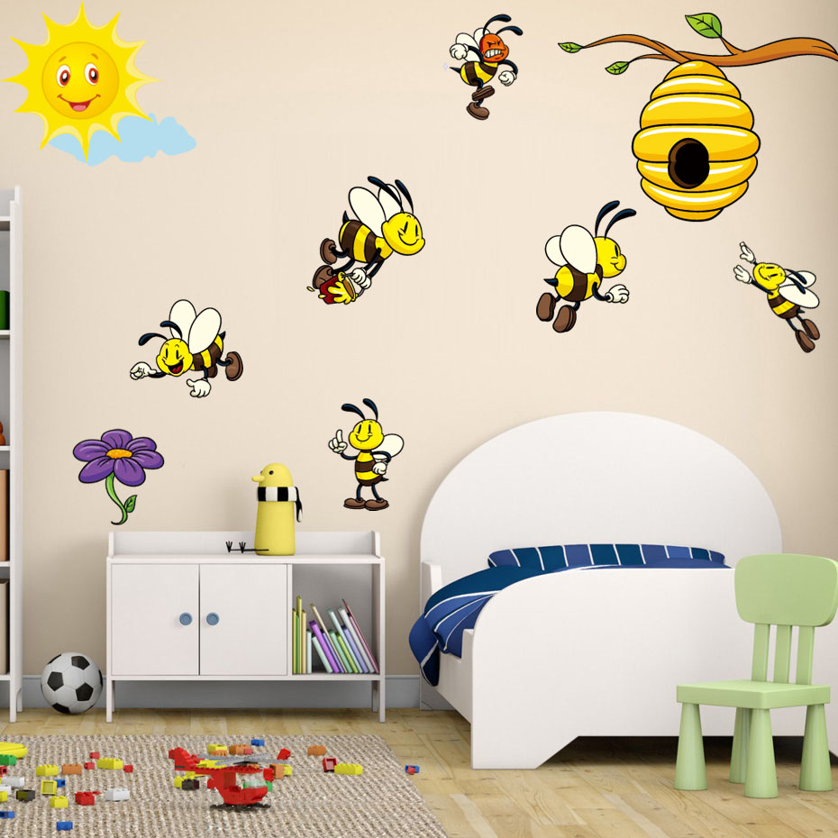 US $4.19 16% OFF|DIY Animals Color Yellow Bees Wall Art Decals For Kids  Nursery Bedroom Self Adhesive Wallpaper Removale Wall Sticker Home Decor-in  ...