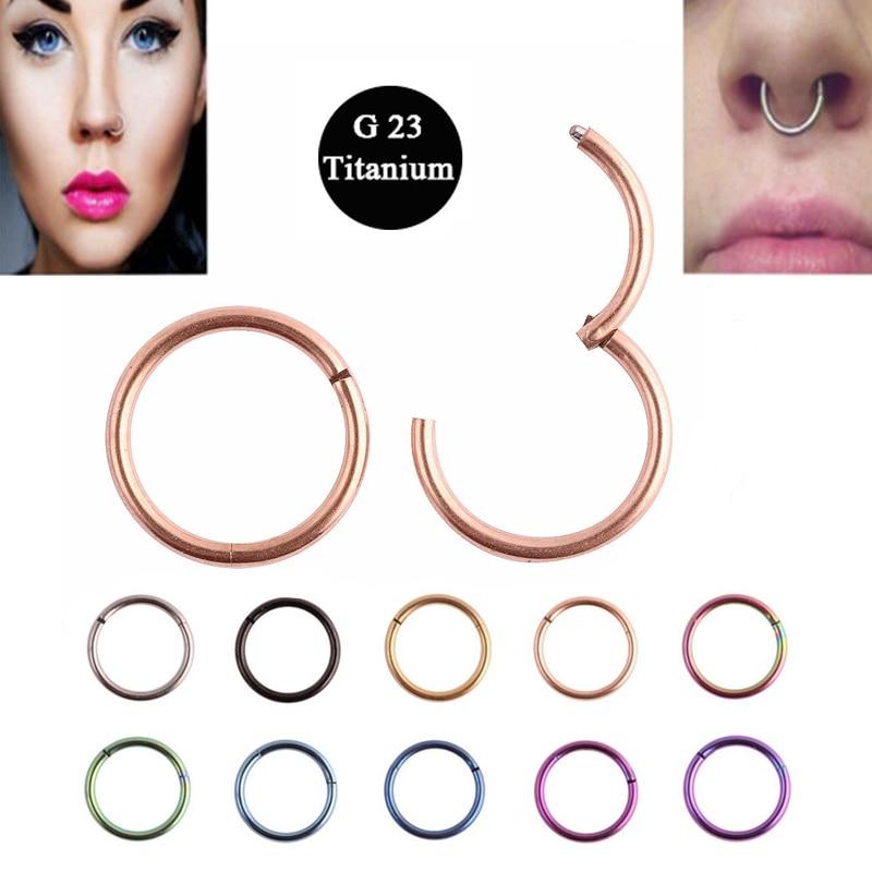 1PC G23 Titanium 16G Nose Rings Hinged Segment Ring Septum Clicker ...