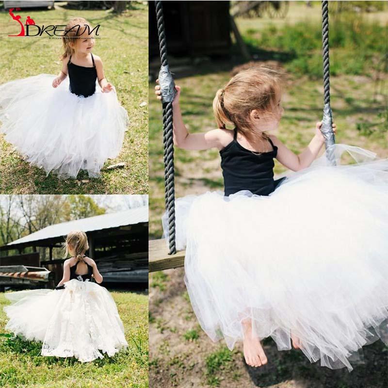 White And Black Communion Dress Flower Girls Dresses Halter Crisscross Back Princess Toddler Party Dresses Girls Pageant Gowns