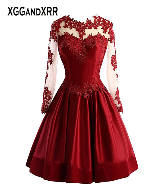 db9dae26f5 Hot Sale Illusion Burgundy Short Prom Dress 2018 Lace Long Sleeves Sexy  Girls Party Dresses Hot Sale Homecoming Gowns Black