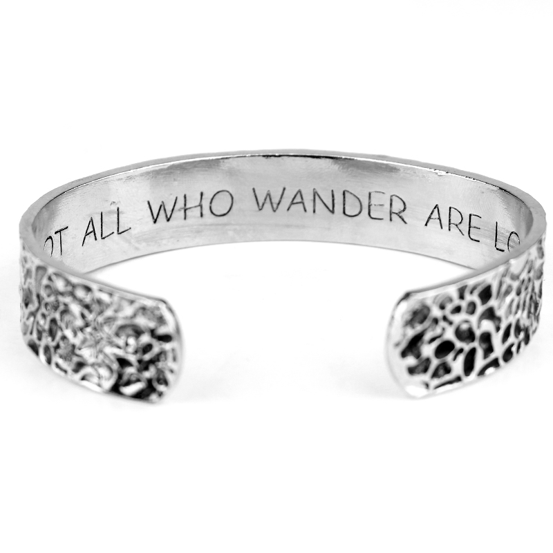 Hand Stamped Letter Not All Who Wander Are Lost Travel Gifts nspirational Quotes, Wanderlust, Men Bracelet Compass Jewelry