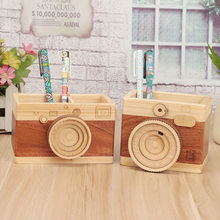 Coloffice Creative retro camera double layer pen holder gift original wooden learning stationery large pen holder ornaments 1PCS(China)