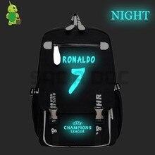 Sacos De Escola para Adolescentes Mochila Luminosa CR7 Cristiano Ronaldo  Meninos Laptop Mochila Mulheres Homens Viajar 3dda0895e1166