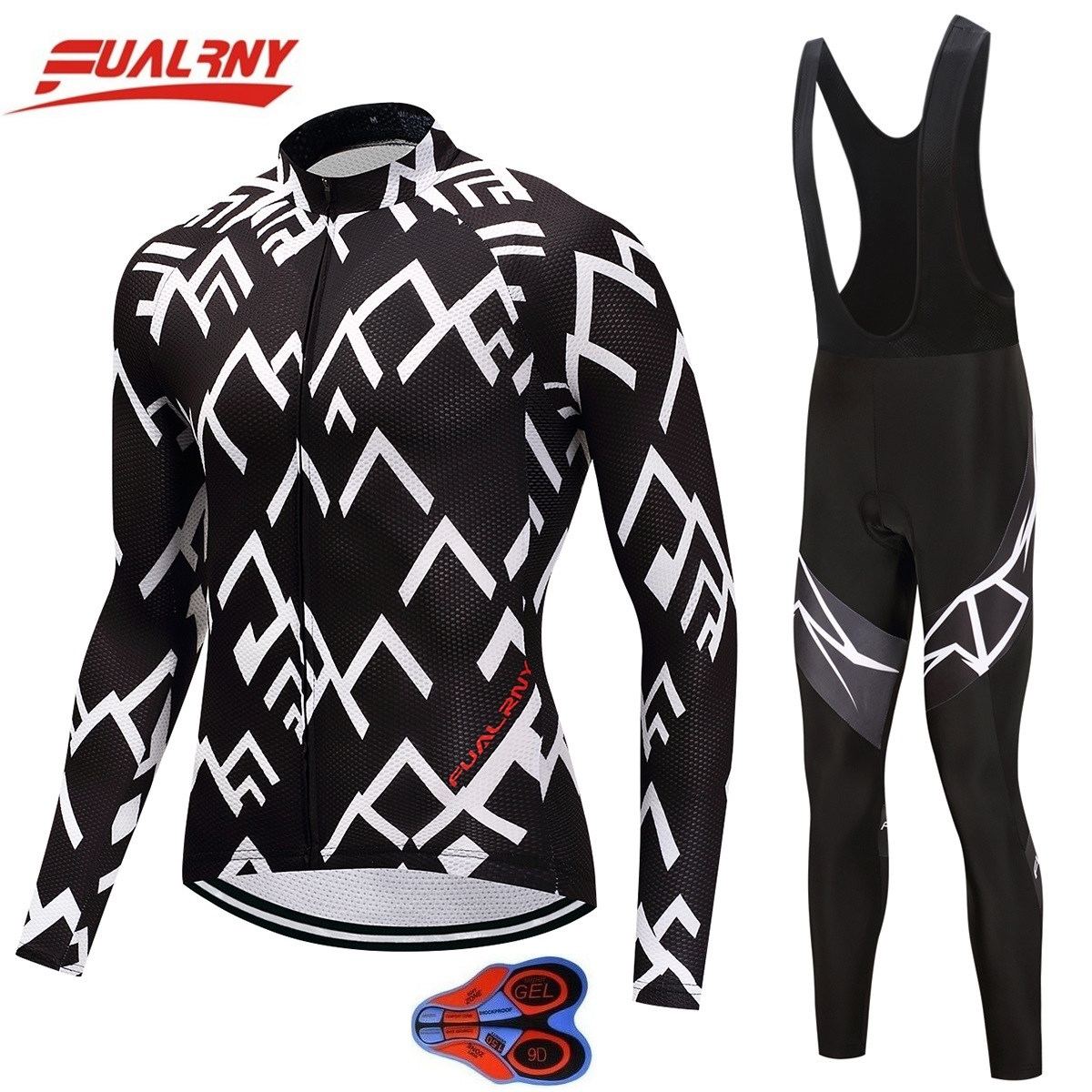 2019 Team FUALRNY Long sleeve Ropa Ciclismo Cycling Jersey sets Mountian Bicycle Clothing/MTB Bike Clothes For Man White stripe