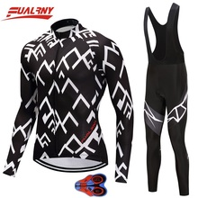 2019 Team FUALRNY Long sleeve Ropa Ciclismo Cycling Jersey sets Mountian Bicycle Clothing/MTB Bike Clothes For Man White stripe цены