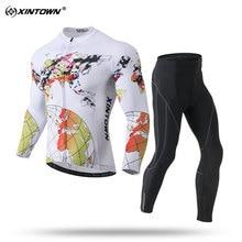 XINTOWN 2018 New Sport Set Men White Long Sleeve Cycling Jersey Sets Spring / Autumn Cycling Jerseys Team Set MTB/Road Bike Wear