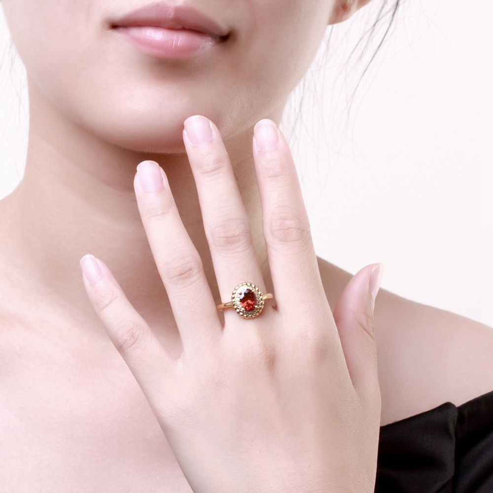 ERLUER Vintage Oval Women Wedding Rings Dubai Luxury Gold Color Red ...