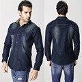 Nova primavera dos homens denim camisa dos homens manga longa marca blusa clothing 6xl plus size 2017 chegada de boa qualidade