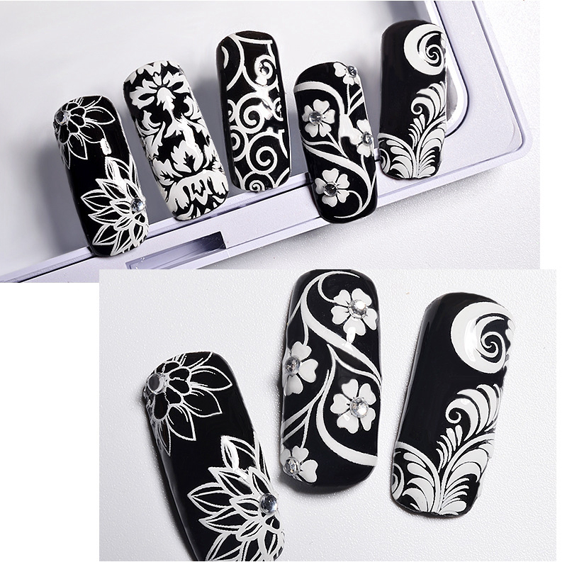 Mtssii 3D Flowers Leaf Patterns Nail Art Stickers Transfer Nail Decals DIY Manicure Accessories Fingernail Decorations 24pcs lot 3d nail stickers decal beauty summer styles design nail art charms manicure bronzing vintage decals decorations tools