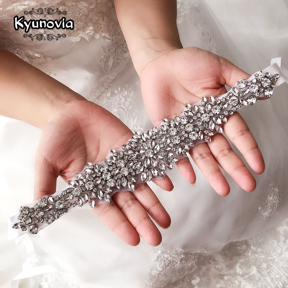 Kyunovia Evening Dress Sash Pink White Ivory Belts Crystal Rhinestones Ribbon Silver Wedding  Belt Bride Sash D15