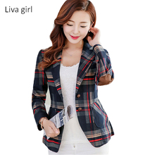 2017 Women Blazers & Jackets Blue Red Plaid Blazer Women blazer Coat Casual One Button Outerwear Short Blazer Feminino OL style(China)