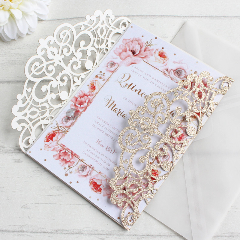 Rose gold wedding cards glittery gift cards bling bling customized printing greeting cards 50pcs