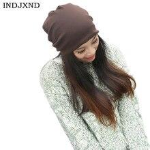 Invierno multifuncional gorros otoño mujer gorros rendimiento de color puro  mujeres beanie hat alta calidad skullies 65aaa4e6f08