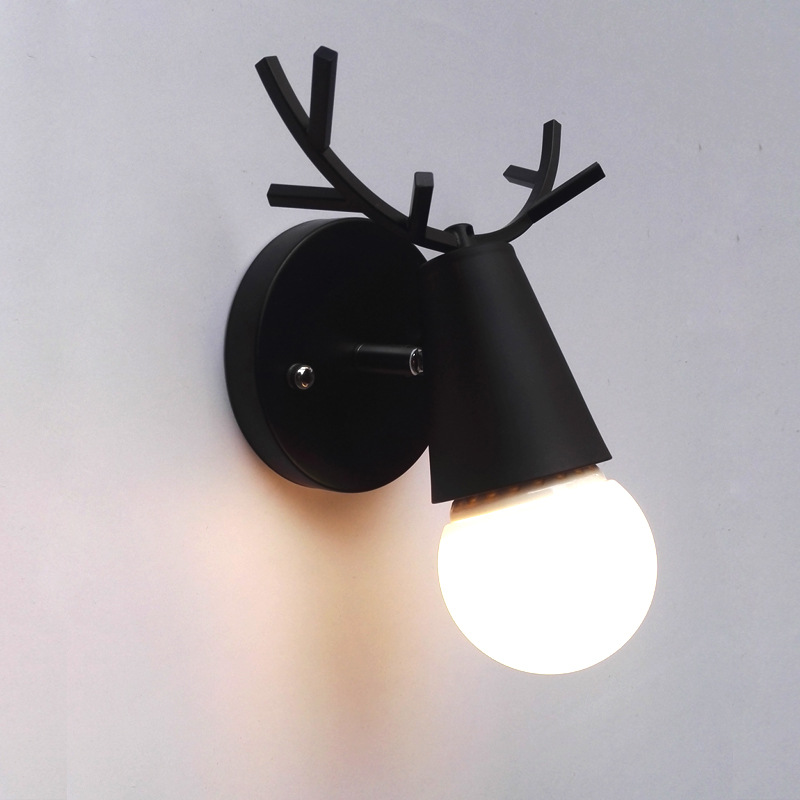 Nordic Vintage Antler Wall Lamp Contemporary Art Dec Black White Wood Antler Wall Light Sconce Bedside Reading Adjustable Arm Light Bedroom Wall Lamp (12)