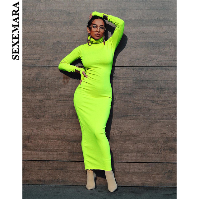 507e4734081f BOOFEENAA Sexy Neon Bodycon Maxi Dress Spring 2019 New Turtleneck Long  Sleeve Bandage Dresses Woman Party