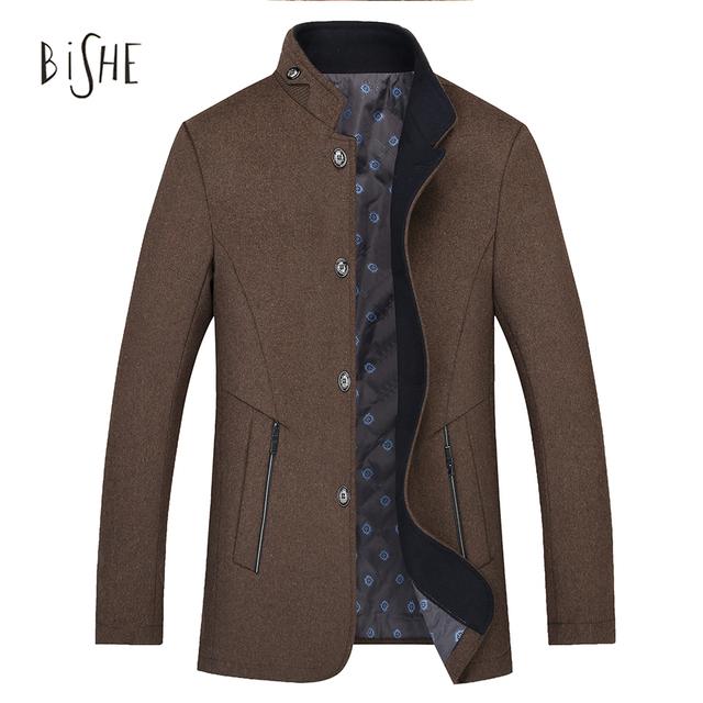 Homens Casaco de inverno de Lã Gola Slim Fit Cinza Ervilha casaco Homens Jaquetas Único Breasted Casaco Masculino Casual Manteau Palto Homme