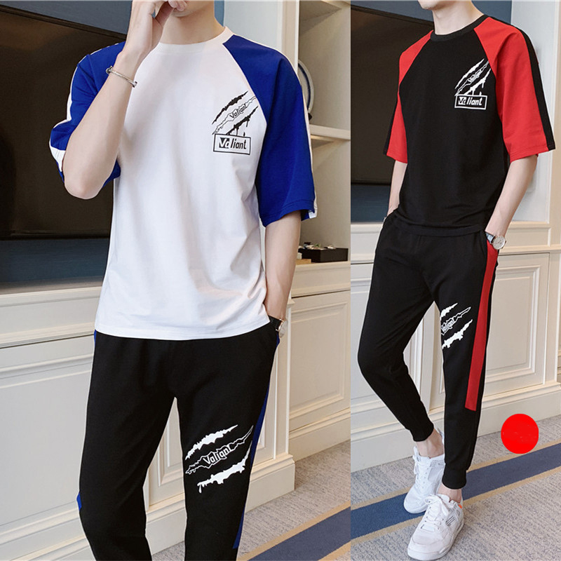 New 3xl Summer Men's Sets T Shirts+pants Two Pieces Sets Patchwork Tracksuit Male Tshirt Sportswear Jogger trousers men 2019
