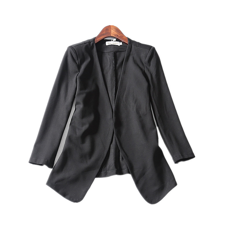 2018 Autumn New   Three Quarter Sleeve Solid None V-neck Appliques Casual fashion women Blazers L-4XL Plus size