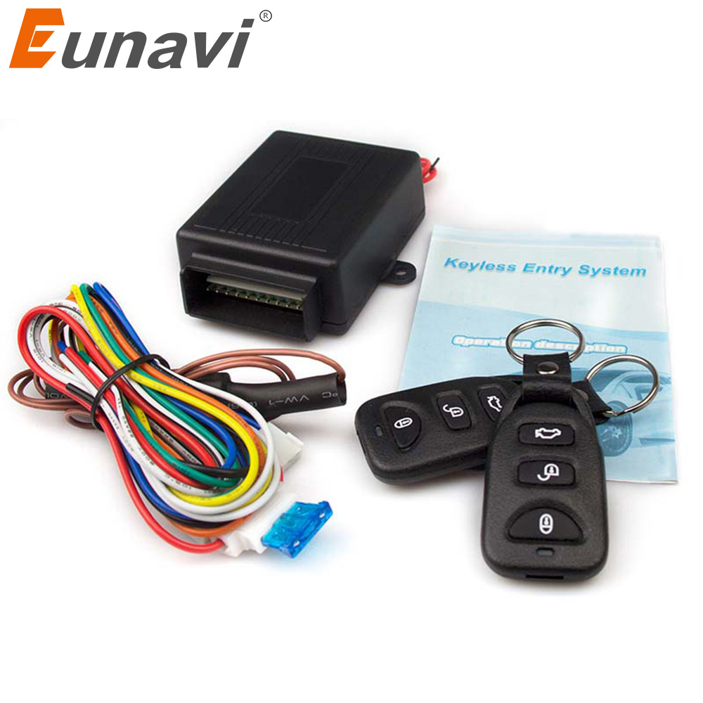 Car Central Lock Kit 12V with Actuator Four-door Single-control Remote Central Locking Universal Black