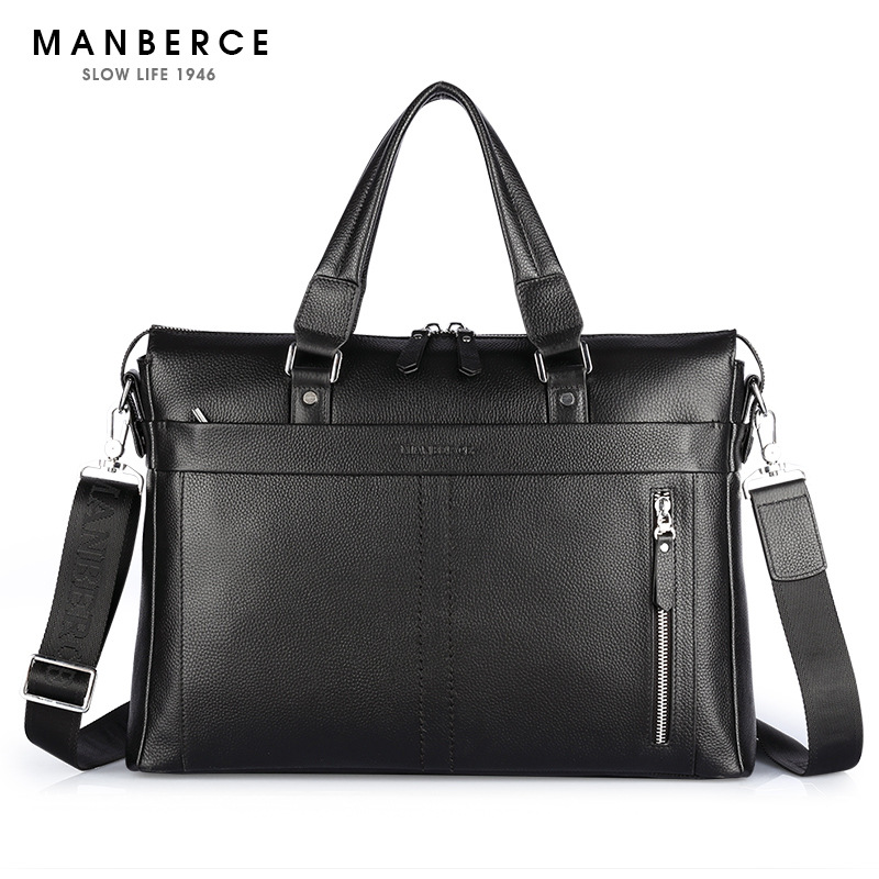 ФОТО New Fashion Genuine Leather Famous Brand men briefcase, commercial laptop briefcase, cross-body shoulder bag
