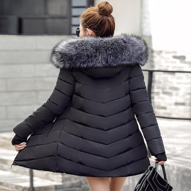 Winterjas Zwart Lang.Zwart 2019 Winter Jas Vrouwen Grote Bont Bovenkleding Lange Down