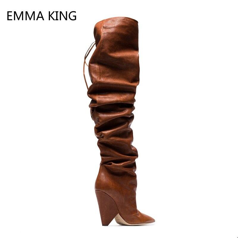 d6a568dca716 Femme Femmes Droit Genou Haut Chaussures Cuissardes En Mode Étrange Plissée  Le Bout Sur Talons Bottes ...