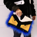 Cool fur evil eye bag Women messenger bags fashion trendy envelope handbags monster eye  fur  bags