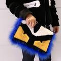 Cool fur evil eye bag Women messenger bags fashion trendy envelope handbags monster eye  fur  bags