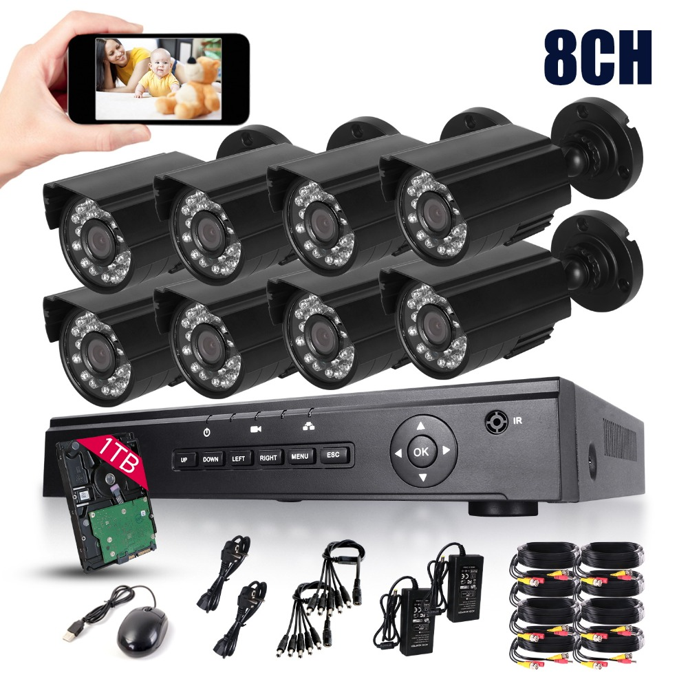 HD 8CH 720P CCTV Security System 8PCS 2000TVL IR Outdoor AHD 720P Video Surveillance Security Cameras 8 channel DVR Kit 1TB HDD greatech hd 8 channel ahd dvr kit 720p video surveillance security outdoor indoor cctv 8 cameras 1200tvl ahd system 8ch