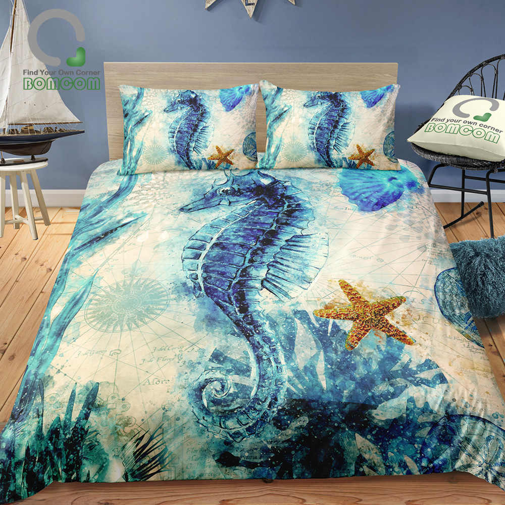 Bomcom 3d Digital Printing Bedding Set The Monterey Bay Seahorse